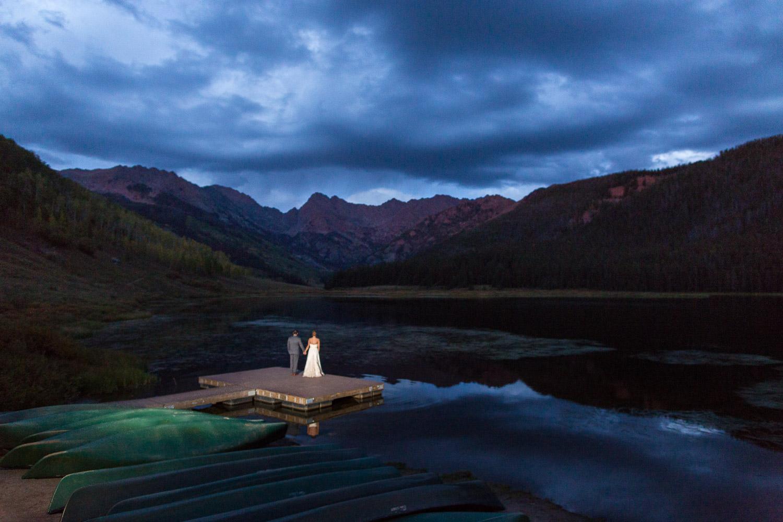 Piney River Ranch Wedding Couple Portraits Blue Hour