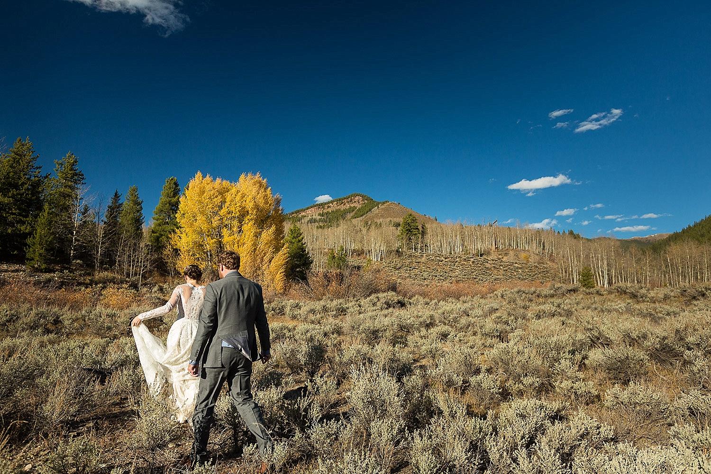 Festive Fall Camp Hale Wedding Couple Portraits