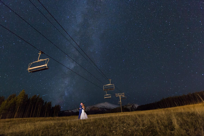 Sevens Breckenridge Wedding Portrait with Stars and Milky Way