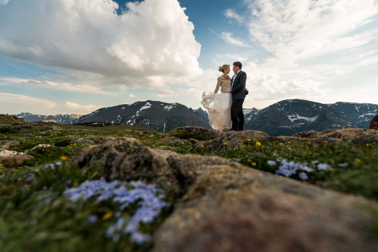 adventurous Colorado mountain wedding photographers rocky mountain national park portrait